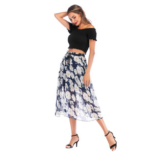 O35996 Best Selling Fashion Classical High Waist Midi Pleated Ladies Printing Skirt
