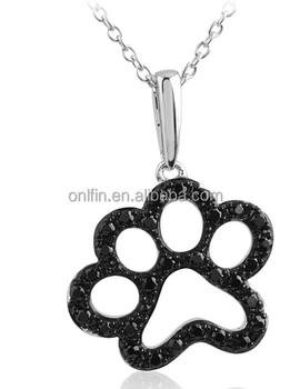 Black cz sterling silver dog paw print necklace buy silver dog paw black cz sterling silver dog paw print necklace aloadofball Images