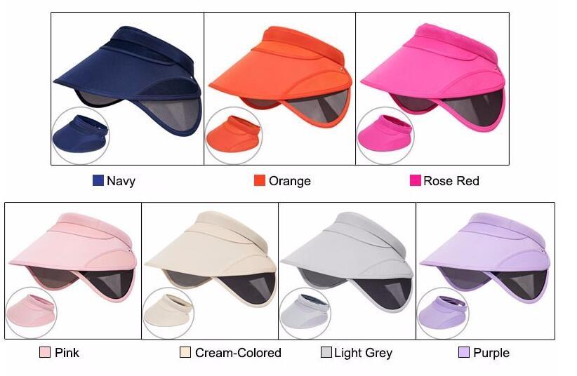 Retractable Summer UV Visors Sport Adumbral Beach Sun Hat Caps Free  Shipping. Color navy 22870a70b21c