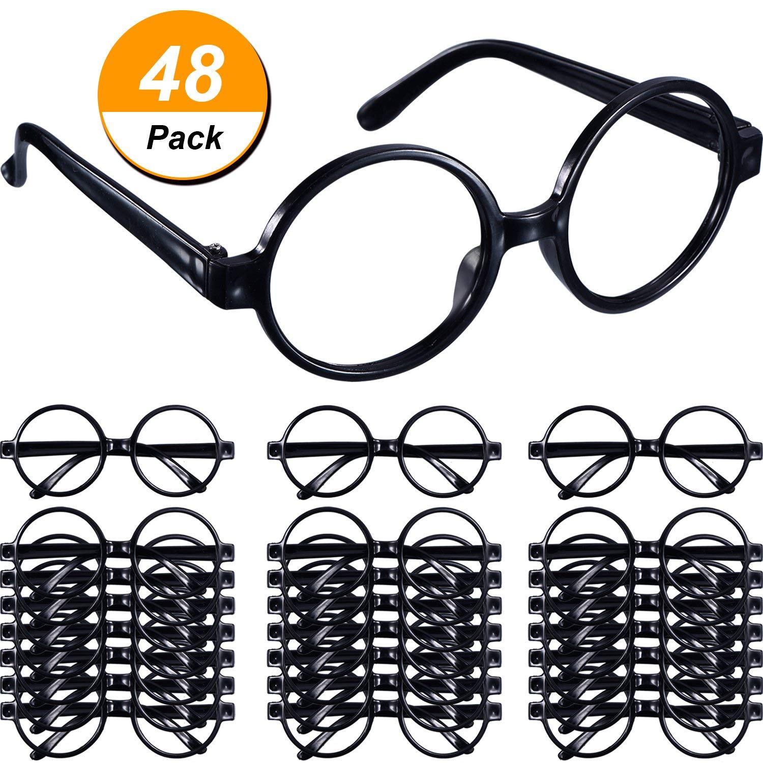 faceb51247 Get Quotations · Shappy 48 Pack Black Plastic Wizard Glasses Round Glasses  Frame Kid Favor Costume Party Supplies