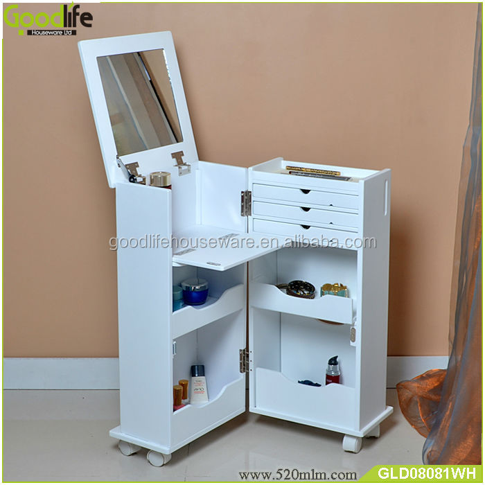 Wooden Cabinet Factory Movable Vanity Dresser With Mirror