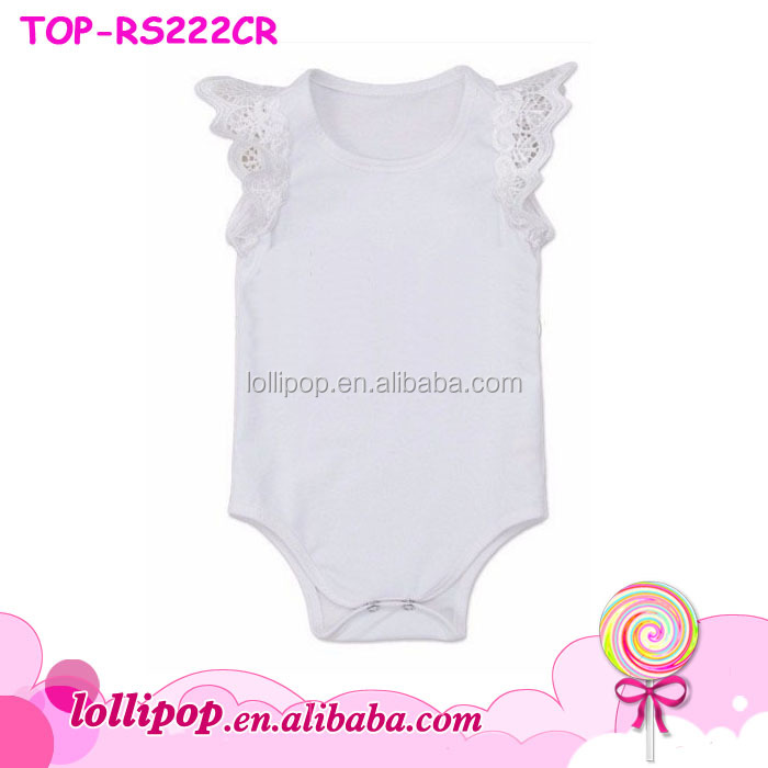 ab5c02a9768d Flutter Sleeve Romper Baby Girls White Lace Angel Wing Royal Blue Long Sleeve  Onesie Jumpsuit Baby