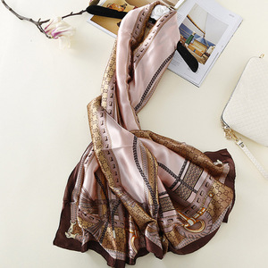Fashion ladies spring simulation silk chain pattern fashionable women summer sunscreen silk scarf scarves