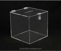 high clear acrylic cube ballot box money raising box , upscale mini plastic acrylic charity donation box