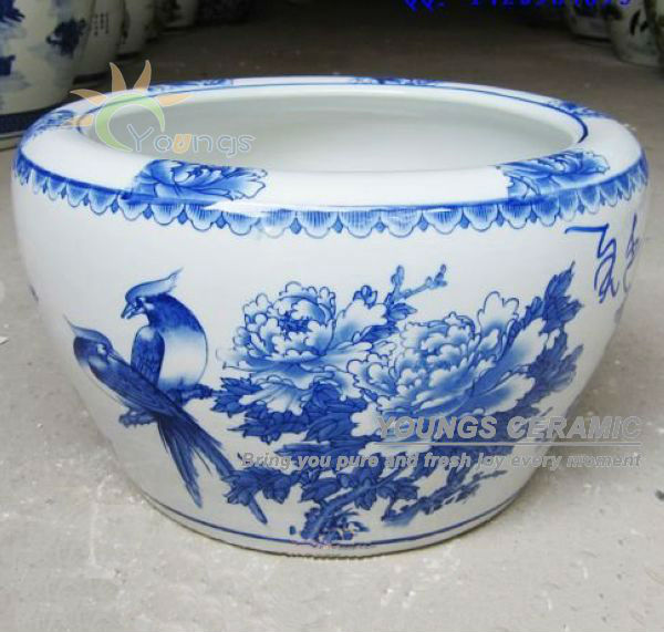 Large Chinese Blue And White Ceramic Decorative Plant Pots For Indoor Outdoor