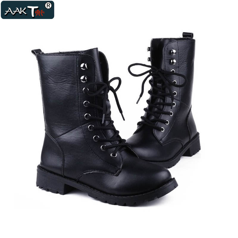 Hot Sale Women Motorcycle Boots Fashion Martin Boots 2015 Womens Black Autumn Winter Mid-Calf  Boots Women Shoes bota feminina