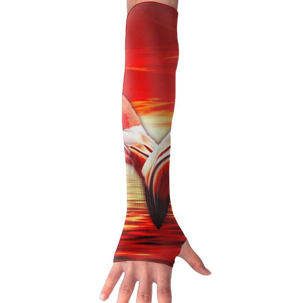 Flamingo Heart Love Arm Gloves Anti-uv Sun Protection Long Cooling Sleeve Driving Cover Fingerless Breathable