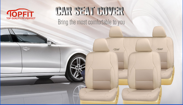 Universal Car Seat Protector with beige color full set leather car seat cover