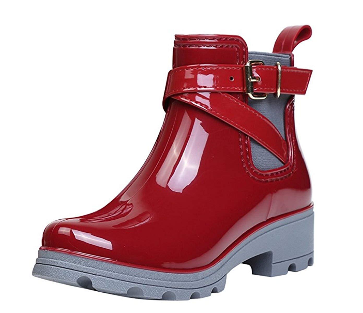 38f2613ce36b Get Quotations · Womens Rain Boots Platform Slip On Ankle Booties Elastic Martin  Chelsea Short Rainy Shoes