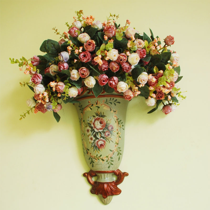 Wall Hanging Artificial Flowers With Wall Vintage Vase - Buy ...