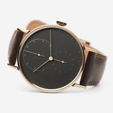 Genuine leather quartz movement custom logo watch