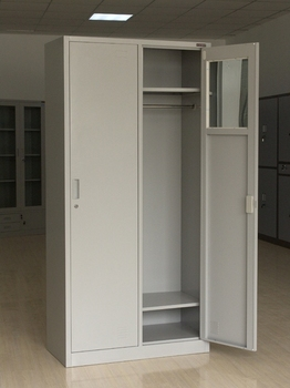 Bon Modern 2 Door Metal Wardrobe Closet/clothes Cabinet Design With Hanging Rod