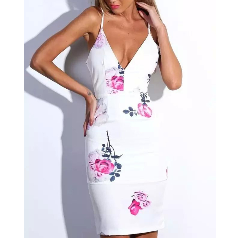 Summer Style 2015 Brief Women Summer Dress Sheath Knee-length Foral Print Vestidos Sexy V-neck Elegant Ladies White Dress