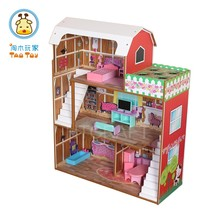 Delicate 3-storeys Planting Barbie Dollhouse, Wooden Toy Doll House For Kids' Planting