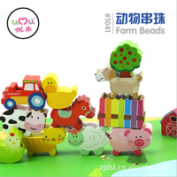 2016 new educational wooden toys farm animal beads toy