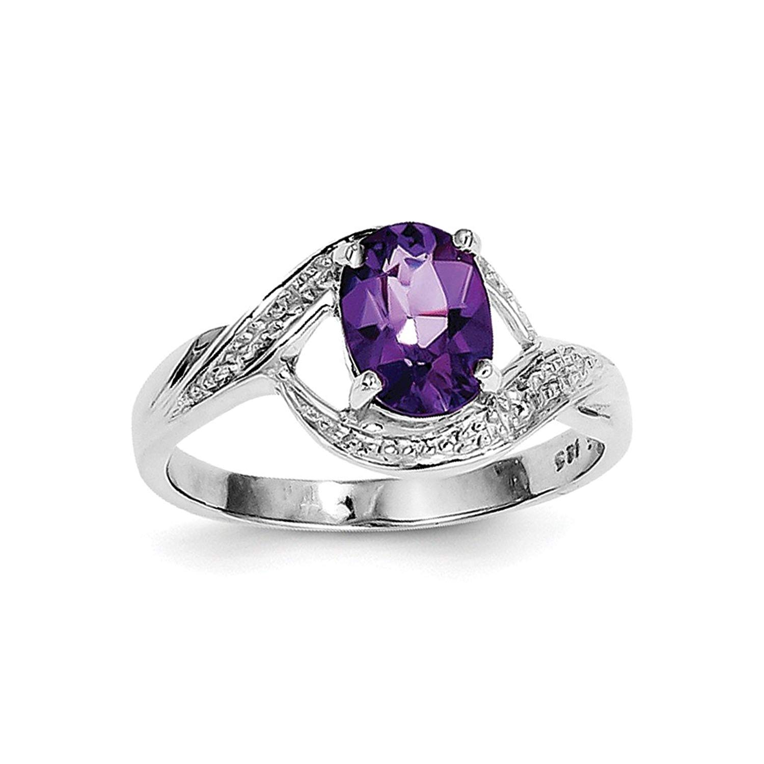 Get Quotations · ICE CARATS 925 Sterling Silver Purple Amethyst Diamond  Band Ring Stone Gemstone Fine Jewelry Ideal Gifts