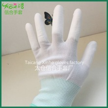 PU coated 13 needle polyester gloves on finger(Ful finger) anti-static working gloves