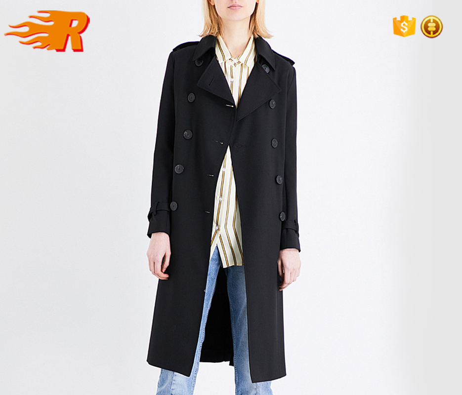 2017 Urban Fashion Black Double-Breasted Woven Trench Coat Women