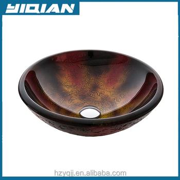 Hangzhou Yiqian Modern Round Glass Bathroom Vessel Sink Bathroom