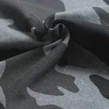 popular hot sell polyester cotton fleece camo rib printed fabric