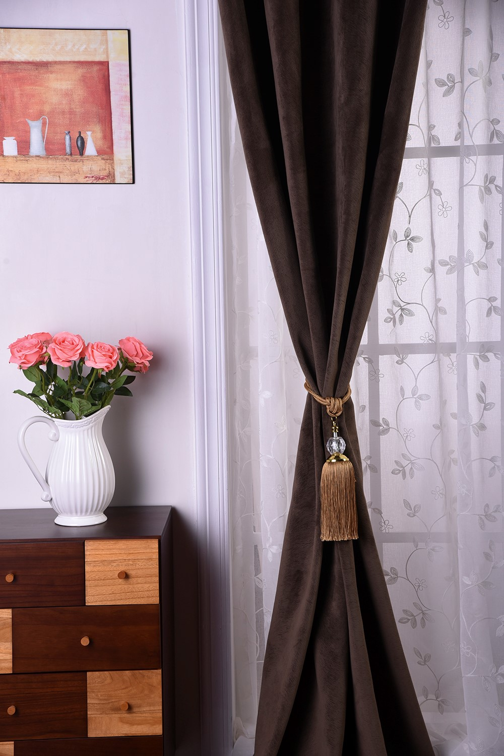 China Manufacturer Glass Window Curtain, Crest Home Design Curtains