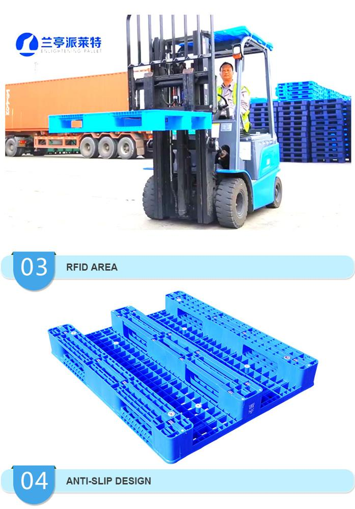 Heavy duty economic 4 way entry steel reinforced durable plastic pallet for warehouse storage