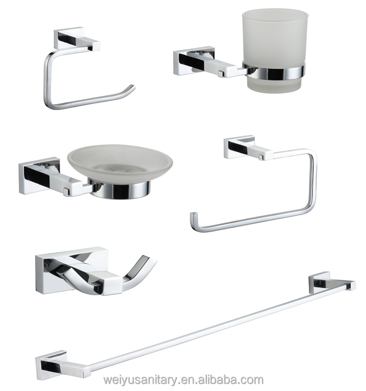 square new design zinc chrome plated towel ring toilets Accessories set