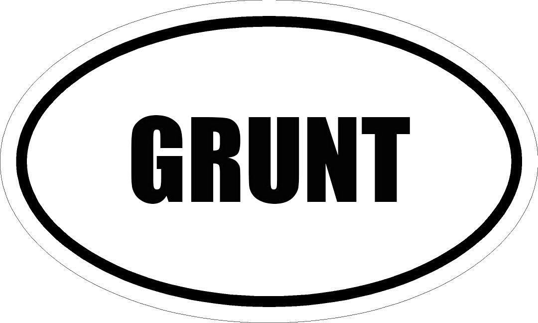 "6"" PRINTED white vinyl GRUNT oval Euro impact style vinyl decal sticker"