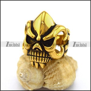 Punk Style Gold Plating Engraved Clean-cut Angular Monster Skull Ring
