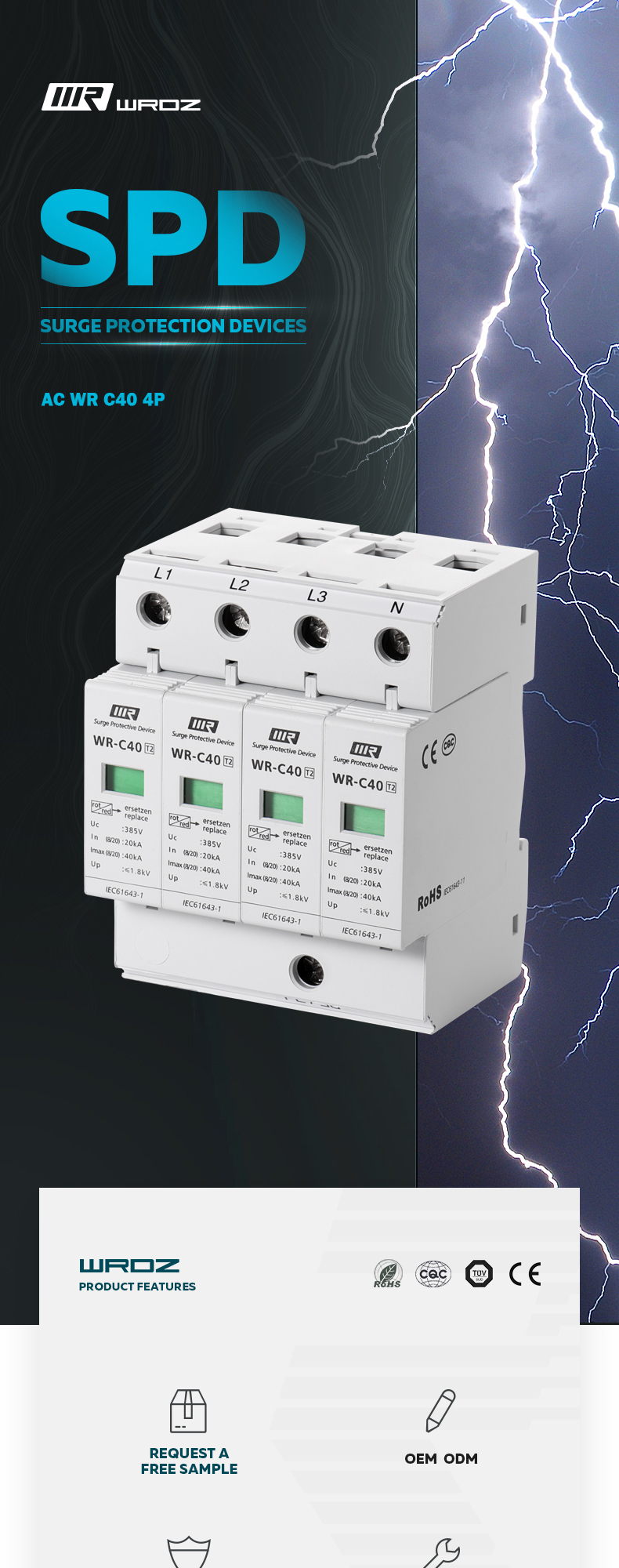 Wholesale Class B C Electrical Surge Protection Type 1 SPD