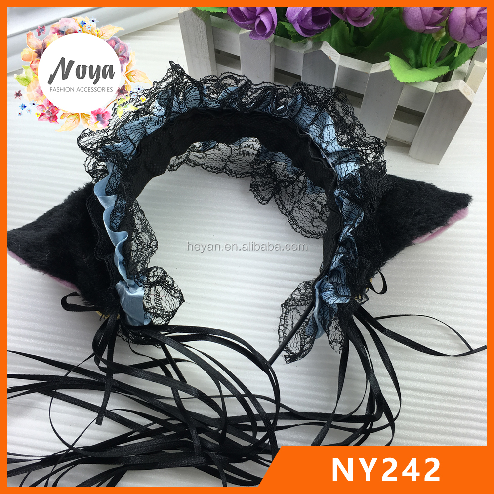 Black cat ears hairband,lace cat ears maid headband,cosplay headband with tassels