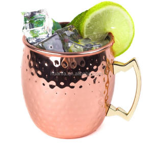 New product 16oz Solid Copper Moscow Mule Mug Beer mug with handle