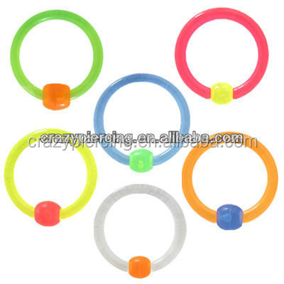 2014 Hot Sale Colorful UV Captive Bead Ball Closure Ring Cheap Acrylic Jewelry BCR Piercing Jewelry