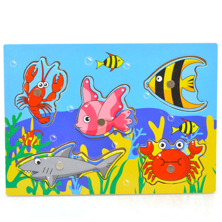Kid Children Educational Interesting Wooden Magnetic Fishing Game Jigsaw Puzzle Toy
