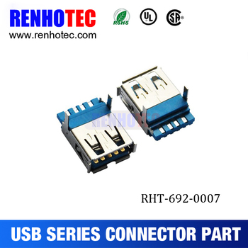 Usb a female single connector 90° pcb mount