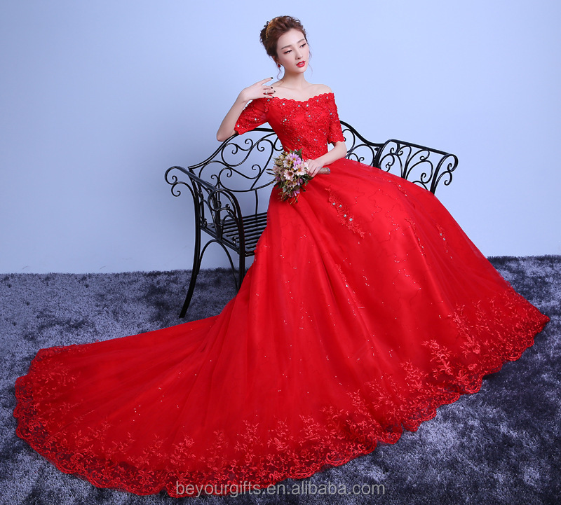Red color A-line Bateau Neck Flower Lace Chapel Train Wedding Dress