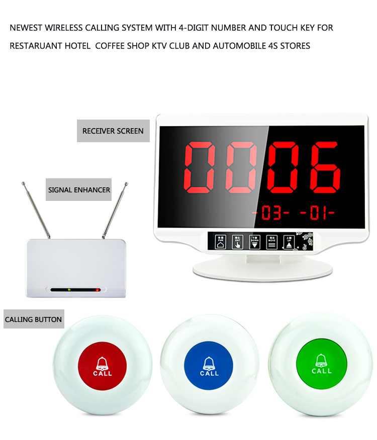 Newest wireless calling system with 4-digit number and touch key for restaurant hotel coffee shop KTV club and Automobile 4S St