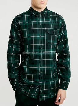 Mens Gren Tartan Long Sleeve Shirts,Wholesale Custom Longline Long ...