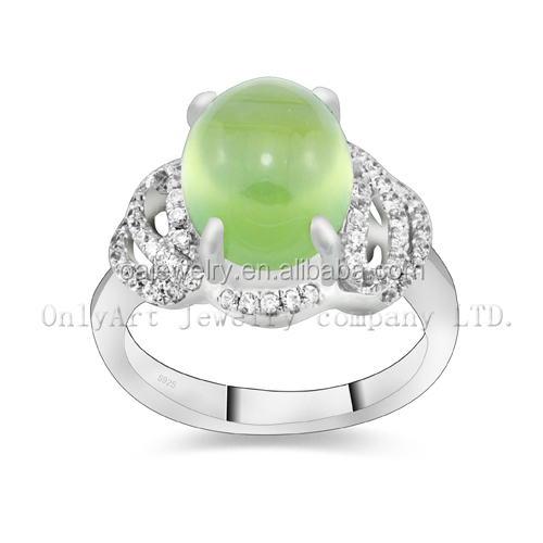 wholesale fashion 925 sterling silver engagement ring with jade jewelry