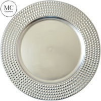 Flower silver plastic charger plate for wedding