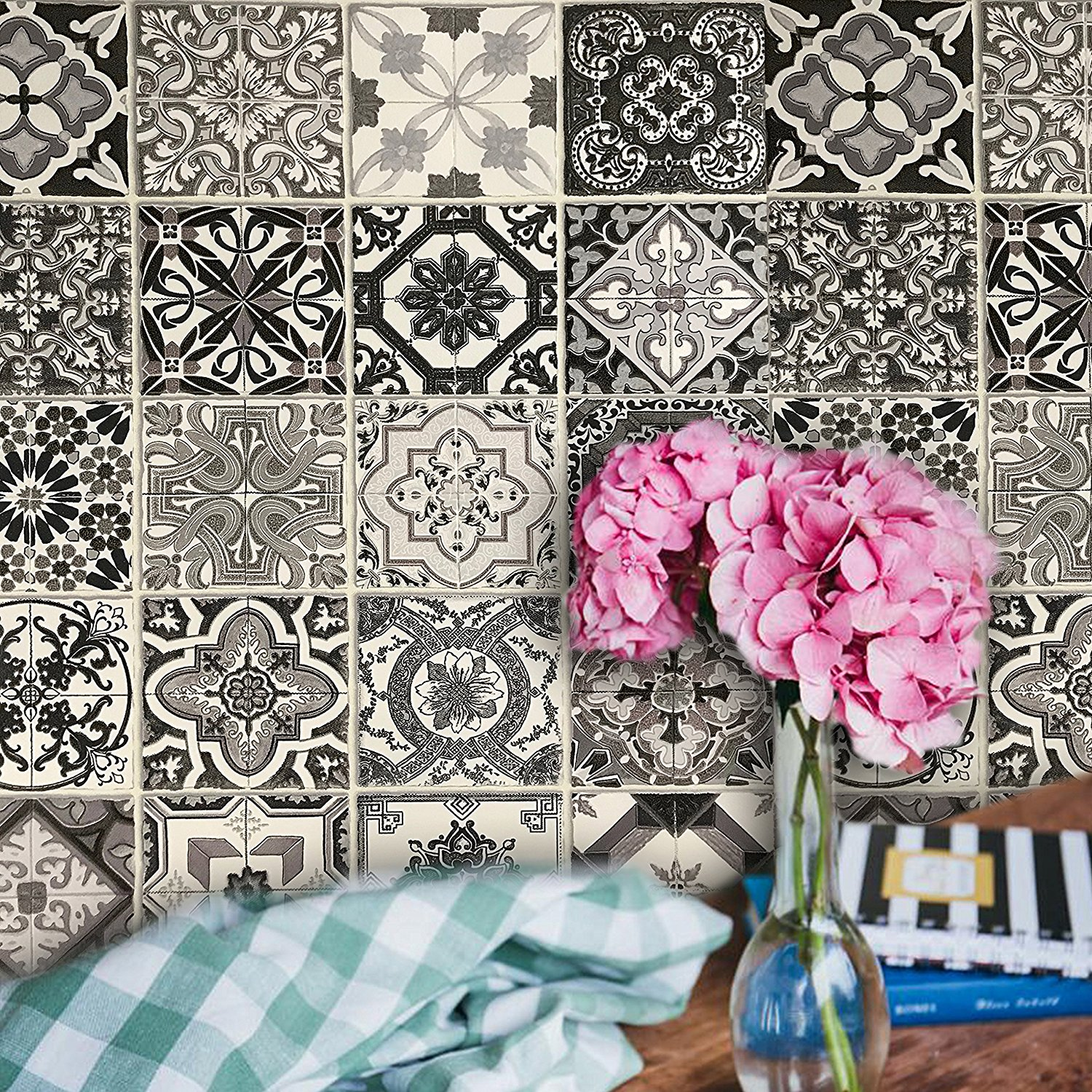 Slavyanski European vinyl wallpaper textured faux square tiles mosaic modern wallcoverings double rolls boho patterned coverings textures wall decor 3D modern vintage retro pattern black & white gray