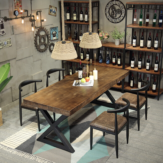 American Rustic Style Used Wooden and Metal Restaurant Table And Chair Set