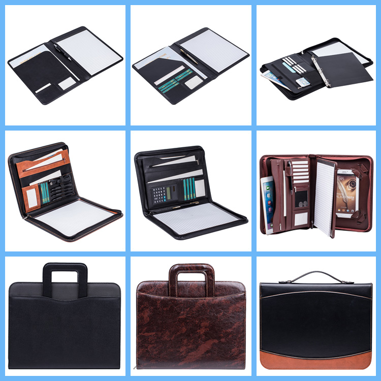 A4 handmade custom pu leather file folders manager conference zip padfolio