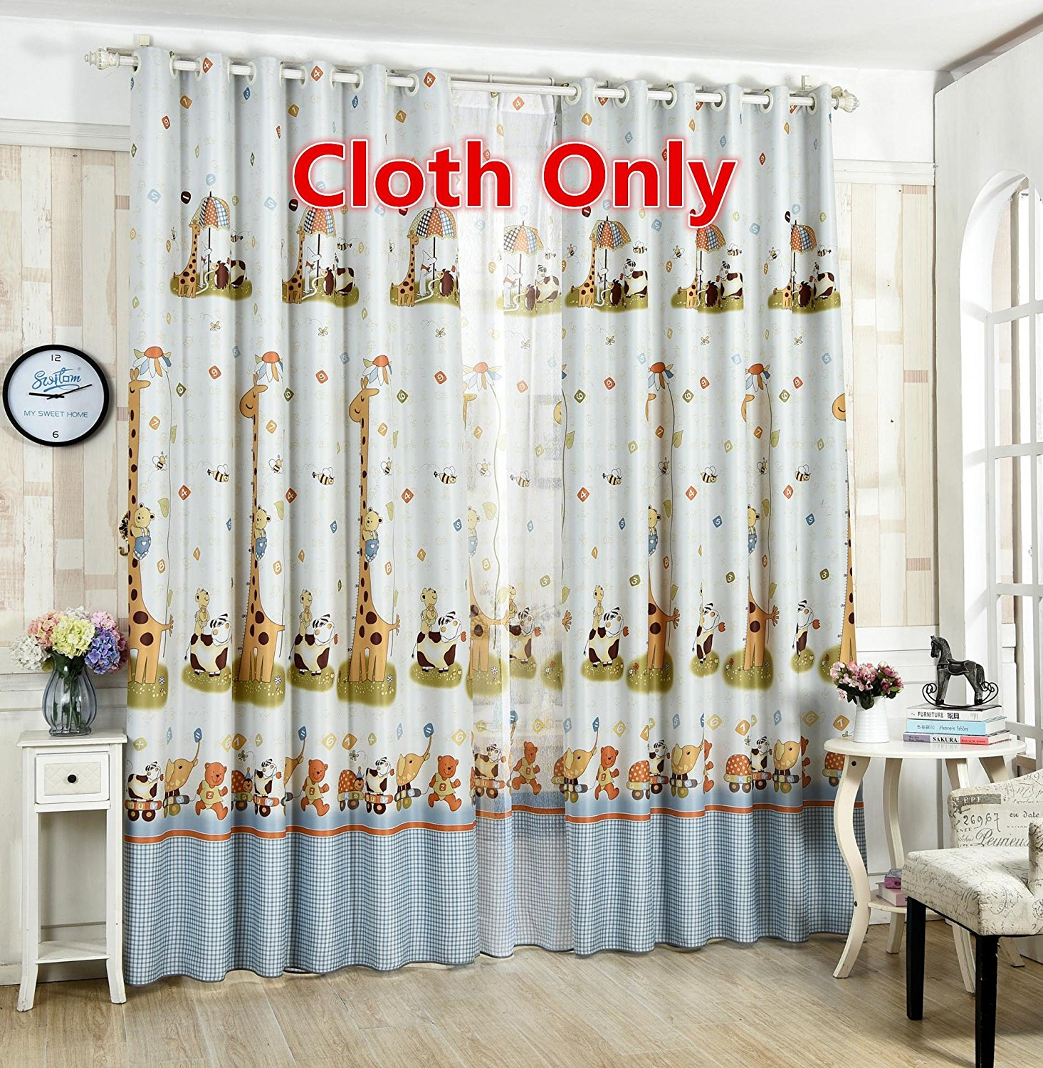 WPKIRA 1 Panel Kids Room Semi-Blackout Window Curtain Drapes Printed Window Treatments Panel Cartoon Giraffe Thermal Insulated Grommet Curtains 96 inch Long Shade Window Cover for Bedroom