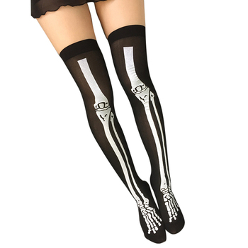 ec33a9dd80ae Sexy Cosplay Striped Stockings Printed Thigh Stockings Over The Knee High  Socks Skeleton Socks for Maid
