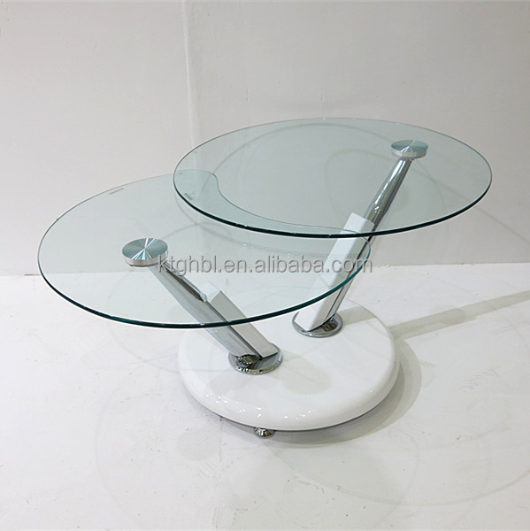 New Product Rotating Round Glass Coffee Table With 2 Tiers Buy New Product Rotating Round