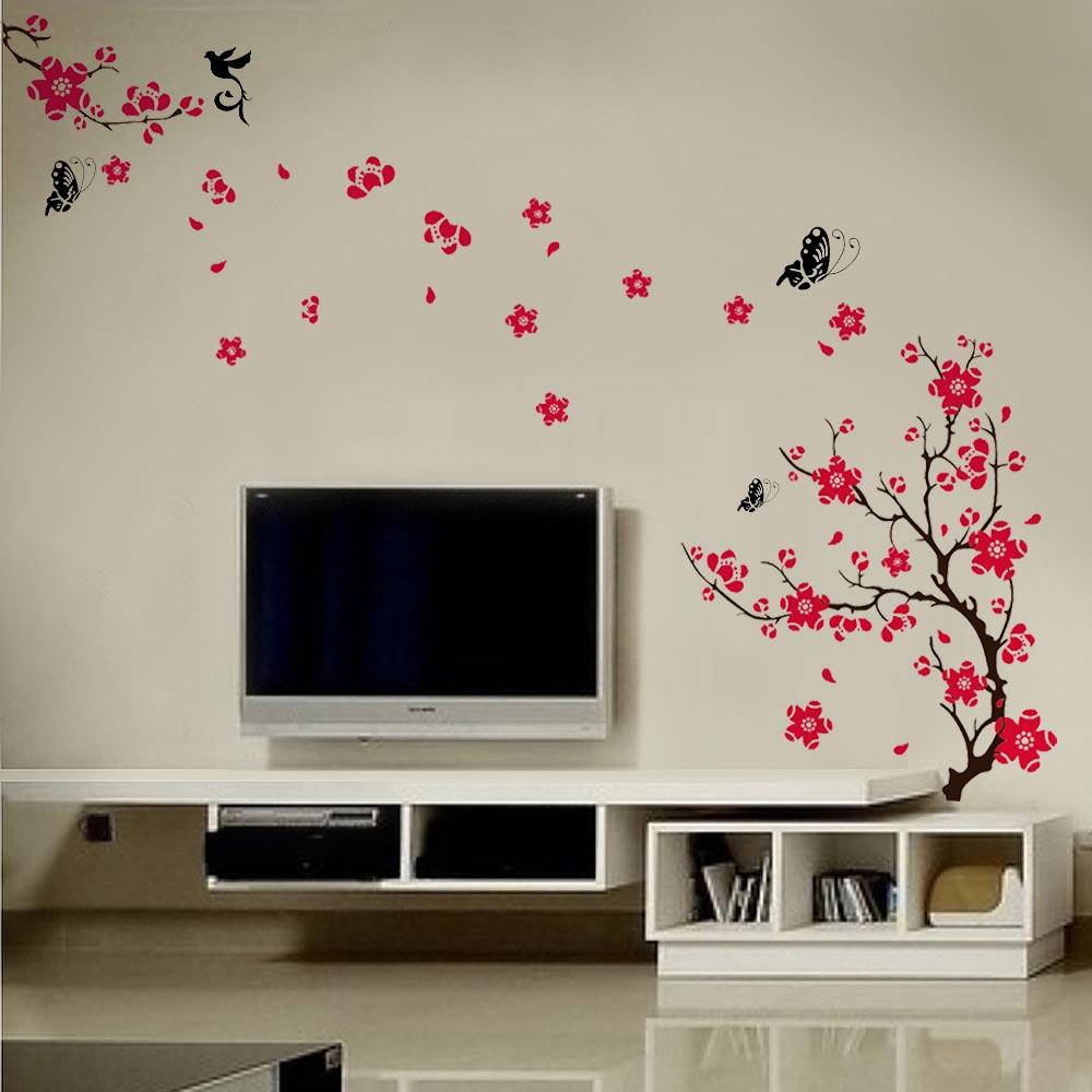 fleur darbre de fleurs stickers muraux de dcalque dart auto adhsif dcor papillon buy product on alibabacom - Decoration Stickers Muraux Adhesif