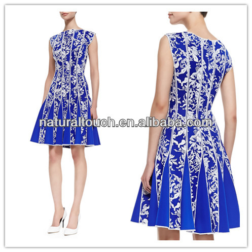 Chinese clothing manufacturers seamed print blue short lace dress (YDQ04088)