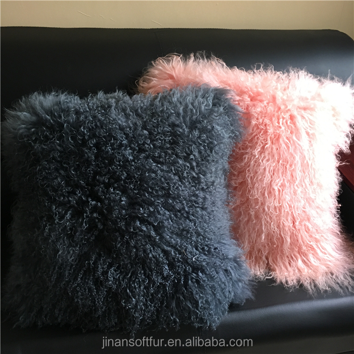 Textiles & Leather Sheep Wool decorative pillow case
