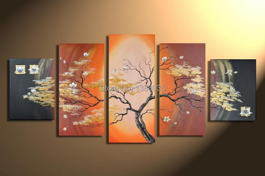 hand painted picture of tree oil painting modern abstract 5 piece wall art canvas decoration. Black Bedroom Furniture Sets. Home Design Ideas